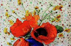 Nareeta Martin - Poppies in Blue Jug Lovely red poppies in a blue jug with a starry background. Available as fine art prints,homeware and apparel from Fine Art America via Pixels.com.