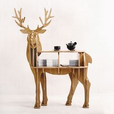 "New!J&E High-end ""S"" size lookback reindeer table Wooden home furniture! self-build puzzle furniture"