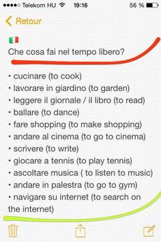 Hobbys  Italiano  Tempo libero
