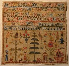EARLY 19TH CENTURY LINEN, SILK & WOOL SAMPLER BY HANNAH LUTHER 1833 ~♥~