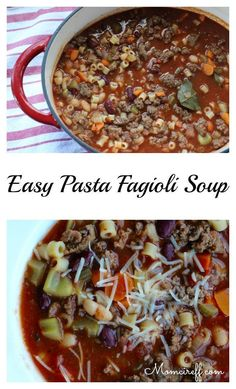 Reposting because this soup is soooo good! I love this soup! It is full of tons of veggies and has enough meat in it to make it the kind of soup you can have as a meal. Have a nice fresh roll with…Easy Pasta Fagioli Soup. Flavorful and Hearty! Chili Recipes, Soup Recipes, Great Recipes, Cooking Recipes, Favorite Recipes, Delicious Recipes, Recipe Tasty, Recipies, Copycat Recipes