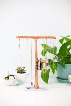 DIY Copper and Marble Jewelry Stand