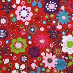 Kinderstoffe Baumwoll - Wachtel Und Blume Rot