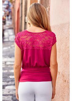Lace Illusion Neckline Blouson Top | Boston Proper Boston Proper, Illusion Neckline, Pink Tops, Cropped Pants, Feminine, Lace, Casual, Women, Fashion