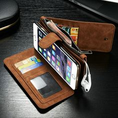 Best Gift CaseMe 2 in 1 Card Slots Wallet Purse Bag Due to every computer display different, pictures and objects will be slightly a little color. Thank you for your understanding :) 1.100% brand new phone cases. 2.Made of high quality genuine second layer leather material. 3.It has 13 card pockets