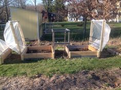 "This year I got creative and built these hinged coldframes on three of my raised beds. I used 1/2"" PVC as the arched frame, over which I put plastic sheeting that was held in place by slats attached along the wood frame of the ""lid."" Starting out my beets, lettuce, onions, garlic, parsnips, and carrots early under these coldframes made a HUGE difference!"