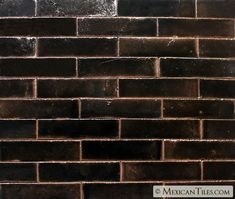 Mexican Tile - 2x8 Black Gloss Siena Ceramic Tile Black Granite Tile, Black Backsplash, Black Tiles, Kitchen Backsplash, Brick Look Tile, Black Brick, Basement Laundry, Ceramic Subway Tile, House Tiles