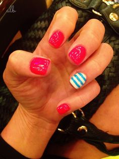 Fourth of July Nails!! Neon coal with stripes :) red white & blue nails
