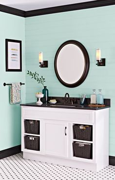 Paint gives a dated vanity a second life for far less than the cost of a new cabinet. Green Bedroom Colors, Cute Room Decor, Bathroom Paint Colors, Small Bathroom Storage, Wall Storage, Girl Rooms, New Cabinet, Lowes Home, House Painting Cost