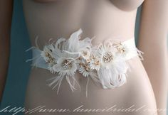 Simple Design Beautiful Hand Cut Flower Wedding Sash with by LAmei