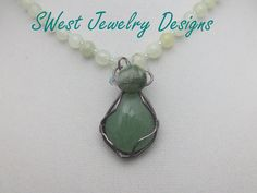 Green Goddess Wire Wrapped Pendant Necklace by SwestJewelryDesigns on Etsy