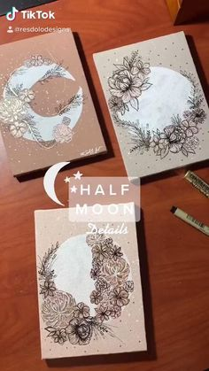 Small Canvas Art, Diy Canvas Art, Mandala Art Lesson, Ideias Diy, Moon Art, Art Plastique, Diy Art, Creative Art, Art Drawings