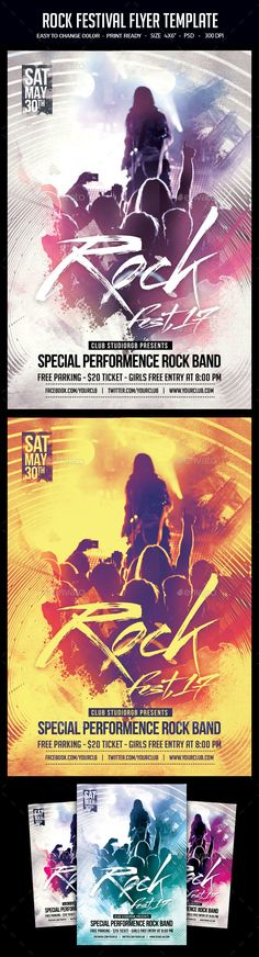 Rock Festival Flyer Template  — PSD Template #rock fest 2017 #dj flyer • Download ➝ https://graphicriver.net/item/rock-festival-flyer-template/18625259?ref=pxcr