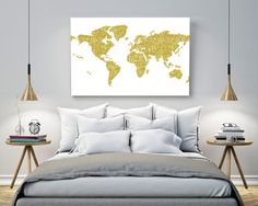 A geometric abstract effect map of the world with gold glitter pattern. Beautiful home decor for your living area or anywhere in your home. This