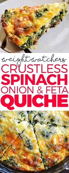 Crustless Spinach, Onion and Feta Quiche Ingredients: 1 medium onion, diced 6 ounces Fresh Express Baby Spinach 2 large eggs cup egg beaters (liquid substitute) large eggs) cup all purpose flour tsp baking powder pinch cayenne pepper 1 Ww Recipes, Brunch Recipes, Veggie Recipes, Low Carb Recipes, Vegetarian Recipes, Cooking Recipes, Healthy Recipes, Recipies, Spinach Recipes