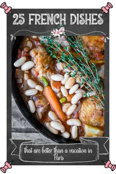 From Boeuf Bourguignon and croissants, to quiche and baguettes, French food has everything you could want! It's decadent, delicate, and delicious, and also easy to make in the comfort of your own kitchen. This recipe roundup of French dishes is sure to make you feel like you're in Paris for the day! These easy french recipes are also perfect for a romantic date night at home ! French Dishes, French Food, One Pot Meals, Easy Meals, Easy French Recipes, Dinner Recipes, Dessert Recipes, Recipe Filing, Beautiful Desserts