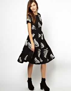 Ymc Black Bones Dress in Embroidered Wool...kind of love this...