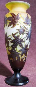 GALLE Emile vase gravé feuilles d'érable 21 cms 1