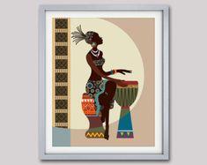 African Woman Art Afrocentric Art African Wall Art от iQstudio