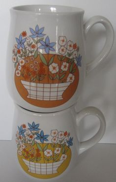 Set of Two Retro Floral Coffee Mugs by TwoSistersCollection, $6.00