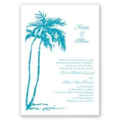 On the Beach Wedding Invitation by David's Bridal #davidsbridal #weddinginvitations #beachwedding