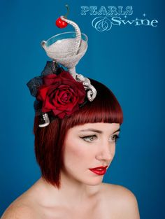Kraken Cocktail – Octopus Tentacle Gothic Headpiece  #Cheeky tentacle pinching the #cherry from a diamond glitter cocktail decorated with more #silver #tentacles, a red velvet #rose and black leaves. This is set on a black #glitter #fascinator base which is backed with leopard print satin and attaches with a comb.  http://www.pearlsandswine.com