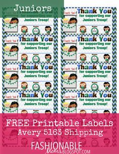 Free Printable  Thank You Labels for Cookie Boxes Girl Scout Leader fae2dae8ede5