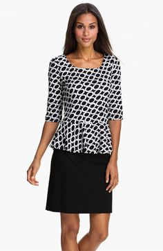 Bobeau Print Peplum Top available at #Nordstrom