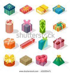 Isometric colored gift boxes and present isometric gift box set. Illustration isometric gift box celebration paper box and vector isometric gift box design. Isometric gift box collection.