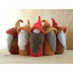 Autumn Toned Needle Felted Gnomes by Pamela Mattison Waldorf Crafts, Waldorf Dolls, Wet Felting, Needle Felting, Felt Christmas, Christmas Crafts, Gnome Hat, Autumn Crafts, Felt Hearts