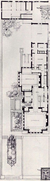 Frank Lloyd Wright  The Heller House, Woodlawn Ave., Chicago IL  Detail of the plot plan.