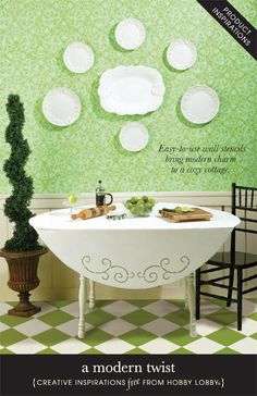 Bring modern charm to a cozy room with easy-to-use wall stencils.