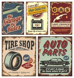 cars+signs | Vintage car metal signs and posters | Stock Vector © Dejan Tomic ...