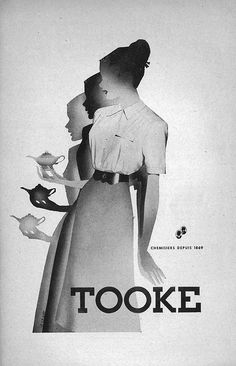 Vintage French ad for Tooke shirts (1948). #vintage #1940s #fashion #ads