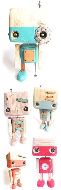 Wood Toys Quirky Wooden Robots by Collectif Robot Cute, Diy Robot, Woodworking Toys, Woodworking Projects, Diy With Kids, Bois Diy, Scrap Wood Projects, Wood Toys, Diy Toys