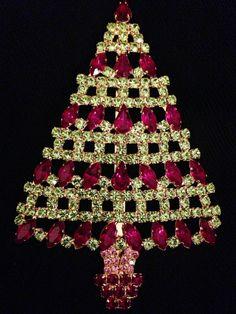 Vintage Huge Rhinestones Christmas Tree Pin by Shabbysheikness
