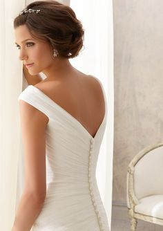 Wedding Gown  5210 Asymmetrically Draped Soft Net -Shown with Crystal Beaded Organza Tie Sash