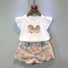 White Fly Sleeve Bow Top+Flower Print Short #summer #outfit #babybear #spring #babiesrus #romper #swing #cute #gold #dresses