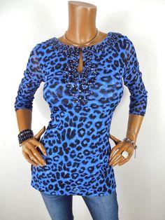 87ede4e3fa54 INC Womens Top M SEXY Shirt Animal Print Blouse Blue Black Beads Light  Weight #INCInternationalConcepts