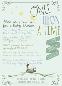 Childrens book themed baby shower invitation by jenleonardini baby shower party invitation book theme once upon a time available in multiple filmwisefo