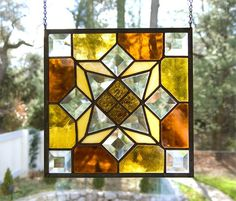 Amber not somber Tones  Stained Glass by GlassSplendor on Etsy, $75.00