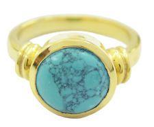 Junoesque Turquoise Gold Plated Multi Ring Designer US 6789