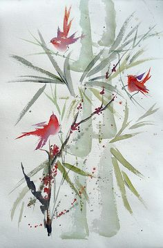 "15x22 watercolor on arches I've posted several ""Red Birds"" that I'll be taking to the Landis Woods Outdoor Art Show this weekend. Notice the word ""Outdoor"" . I've been checking the extended weather reports and .......up until today they've been reporting sunny weather. Well...... today when I checked there was that dreaded word in the forecast for Saturday! ""RAIN""! I sure am hoping for sun! .... how about you? ""You can always find the sun within yourself if you will only search. "" Maxwell…"