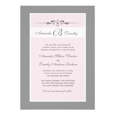 Pale Pink and Grey Frame Wedding Invitations