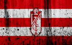 Download wallpapers 4k, FC Grenade, grunge, Segunda Division, art, soccer, football club, Spain, Grenade CF, logo, LaLiga2, stone texture, Grenade FC
