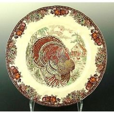"""Another Johnson Brothers plate, """"Autumn Monarch"""" is splendid with the pumpkin and fall leaf border."""