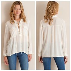 Ivory Lace Up Peasant Top Ivory Lace Up Peasant Top  Solid lace up collared top featuring two front pockets. 100% Rayon. Also available in Peach. 2/2/2 TE1401CI-591  No trades! Other