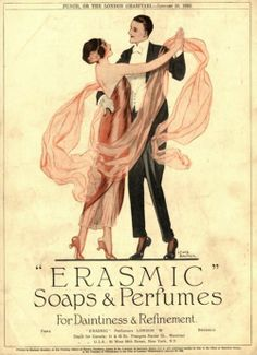 Erasmic soaps & perfumes ad c.1922, art by Lewis Baumer