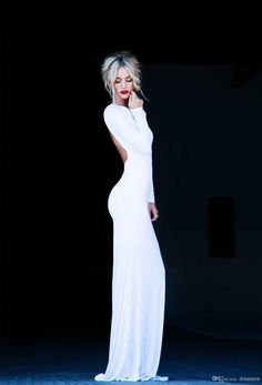 $99- Prom Dresses Bateau Long Sleeves Sheath Sexy Backless Floor Length White Elegant Evening Gowns