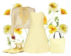 """""""Soft Yellow"""" by lovetodrinktea ❤ liked on Polyvore featuring PINK BOW, ANNA BAIGUERA, Alice + Olivia, Kenzo and Jimmy Choo"""